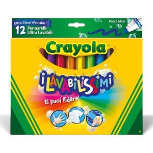 Crayola - I Lavabilissimi - Pennarelli Ultra-Lavabili, Punta Maxi - 12 Pezzi
