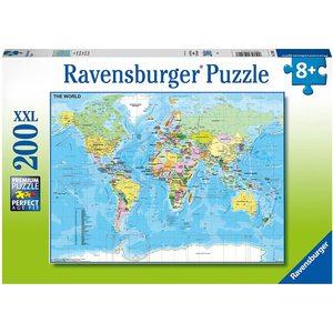 Ravensburger 12890 - Puzzle 200 Pezzi XXL - Mappa del Mondo
