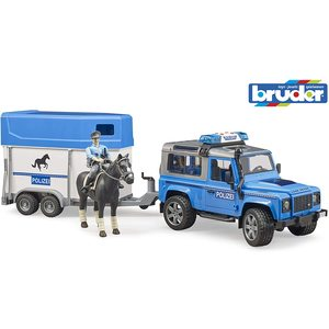 Bruder 02588 - Land Rover Defender - Veicolo della Polizia con Rimorchio Cavalli, 1 Cavallo e Poliziotto