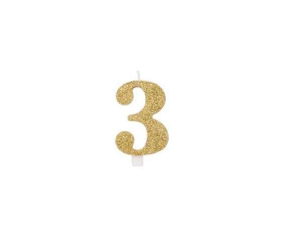 Candelina 9.5cm Oro Glitter N.3