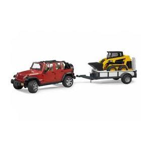 BRUDER Jeep Wrangler Unlimited Rubicon con rimorchio e CAT (02925)