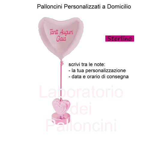 Palloncino 36'' - Cuore Gonfiato con Elio - Personalizzato - legato a pesino
