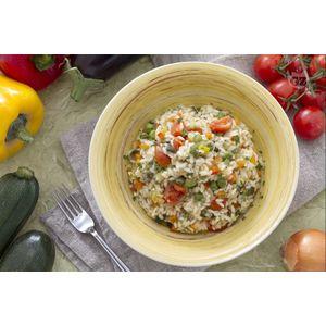 Riso basmati al forno Primavera con asparagi, carote, piselli e zucchine