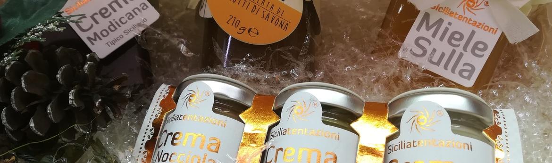 Pacco crema modicana  tris creme  marmellata chinotto  miele sulla corallo