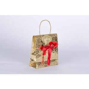 Borsina regalo carta metallizzata e nastro rosso