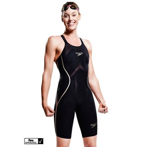 FEMALE LXR RACER X OPEN BACK KNEESKIN TG GB 24 IT 34 DONNA COSTUME DA GARA SPEEDO FASTSKIN nero/oro