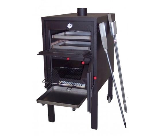 Forno a legna da internoincasso nero retto maxi con bruciatore metallo 71x77x147