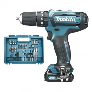 KIT MAKITA HP331DSAX1 TRAPANO AVVITATORE A PERCUSSIONE 2X LI-ION 10,8V 2,00 AH + 74 ACCESSORI
