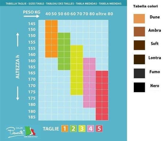 Tabella colori collant calse elastiche contenitive 70 denari