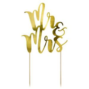 CAKE TOPPER  Mr & Mrs  ORO