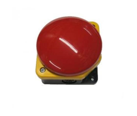 Pulsante emergenza a fungo rosso con contatto NC nero per comando porta automatica.