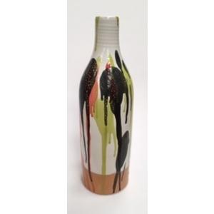 Bottiglia Arredamento verde/nero/rosso cm 43x14