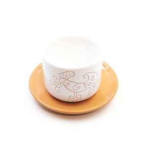 Tazza Latte con piattino linea bianco terra