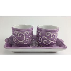 Set Vassoio mini + 2 tazzine da caffè Linea Viola