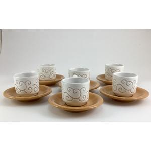 Servizio 6 tazzine caffè con piattini Linea Bianco Terra