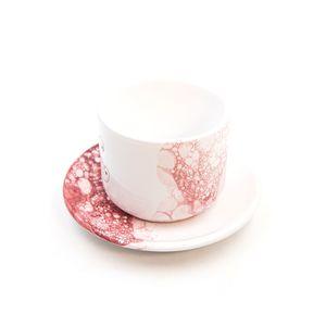 Tazza Latte con piattino linea granata