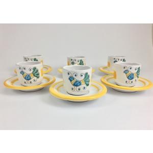 Servizio 6 tazzine caffè con piattini Linea primavera