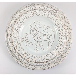 Servizio di piatti tondo Linea Bianco Terra 18 pezzi (6 piani 6 fondi 6 frutta)