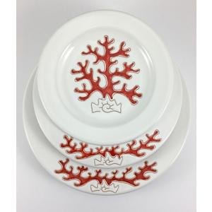 Servizio di piatti tondo Linea Corallo 18 pezzi (6 piani 6 fondi 6 frutta)