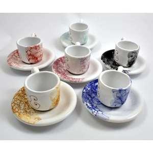 Servizio 6 tazzine caffè con piattini tutto colorato
