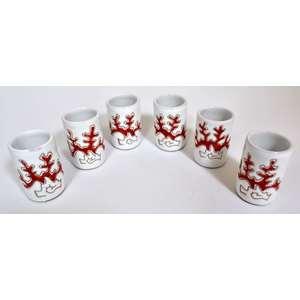 Set 6 Bicchieri mirto/liquore Linea Corallo Rosso