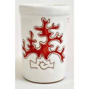 Bicchiere acqua/portaspazzolini/portapenne  linea corallo rosso