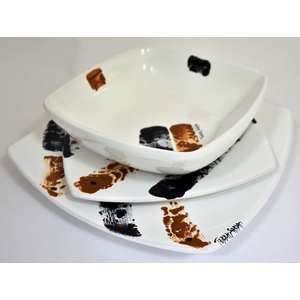 Servizio di piatti quadrati Terra Sarda Ceramiche 18 pezzi (6 piani 6 fondi 6 frutta)