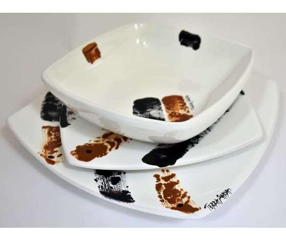 Servizio di piatti quadrati 18 pezzi (6 piani 6 fondi 6 frutta) Linea Tharros