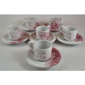 Servizio 6 tazzine caffè con piattini Linea granata