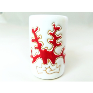 Bicchierino mirto/liquore / portastuzzicadenti linea corallo rosso