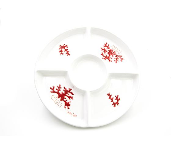 Antipastiera tonda 5 posti linea corallo rosso cm 30,5