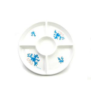 Antipastiera tonda 5 posti linea corallo azzurro cm 30,5
