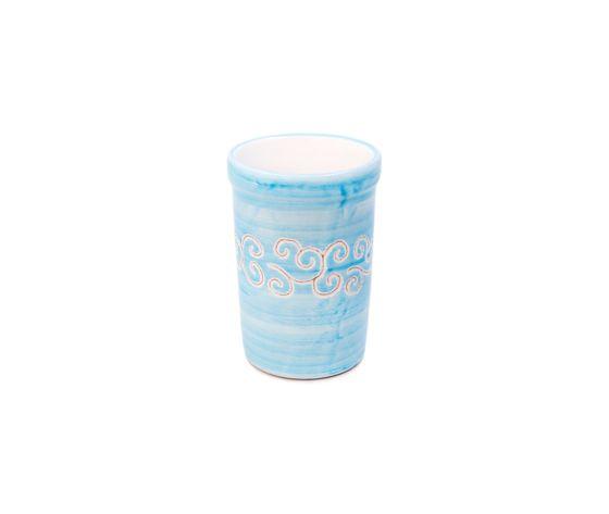 Bicchiere acqua linea turchese con riccioli