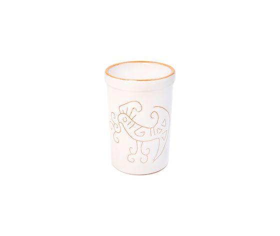 Bicchiere acqua/portaspazzolini/portapenne  linea bianco terra