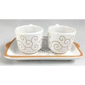 Set Vassoio mini + 2 tazzine da caffè Linea Bianco Terra