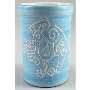 Bicchiere acqua/portaspazzolini/portapenne  linea turchese