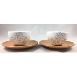 Set di 2 tazze da the/capuccino con piattino linea bianco terra