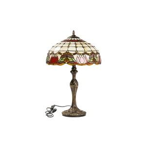 lampada da tavolo stile tiffany colorata fiori rossi