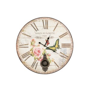 orologio parete pendolo farfalle