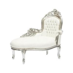 dormeuse barocco legno e pelle argento e bianco