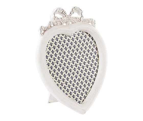 portafoto a cuore bianco 20 cm