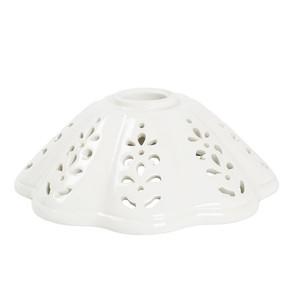 piatto in ceramica a cono traforato bianco 17 cm