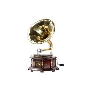 grammofono con cassa esagonale legno e ottone