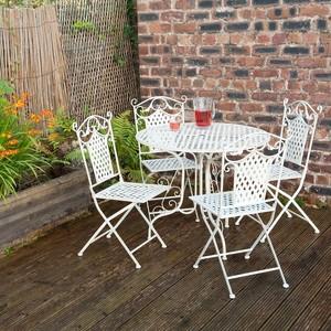 Set tavolo e 4 sedie in ferro bianco 90cm