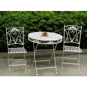 set tavolo 2 sedie giardino ferro bianco