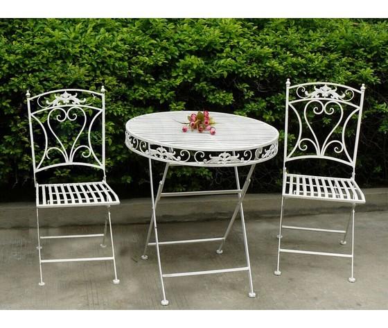 Set tavolo e 2 sedie da giardino in ferro bianco way for Set giardino esterno