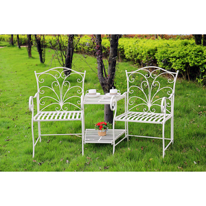 salottino da giardino ferro bianco tavolo sedie