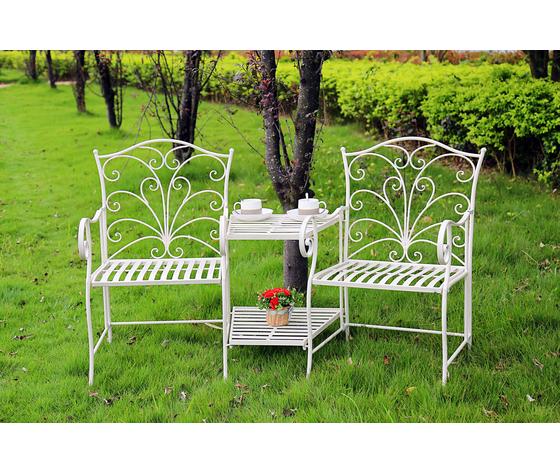Salottino da giardino in ferro bianco