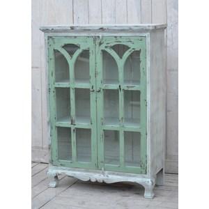 vetrina 3 ripiani bianco verde industrial