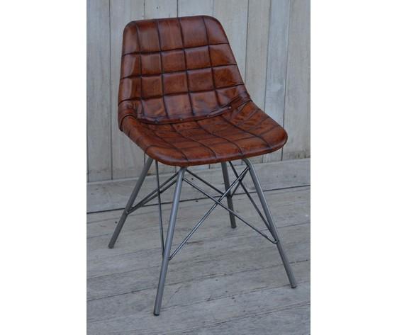 Sedia in pelle industrial 79cm - WAY HOME STORE
